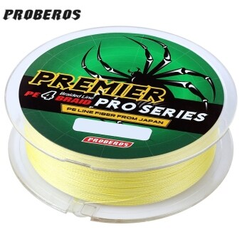 PROBEROS 100M PE 4 Strands Monofilament Braided Fishing LineAccessory 60LBS(Yellow)