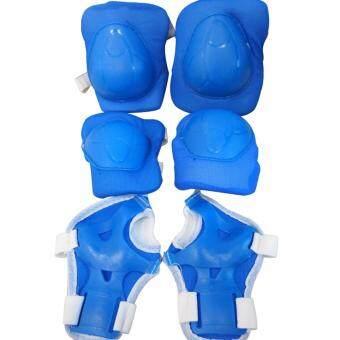 Protector ชุดป้องกัน อุปกรณ์ป้องกัน กันล้ม สเก็ต เล่นสเก็ตสำหรับเด็ก สนับเข่า มือ ข้อศอก ครบชุด [น้ำเงิน]