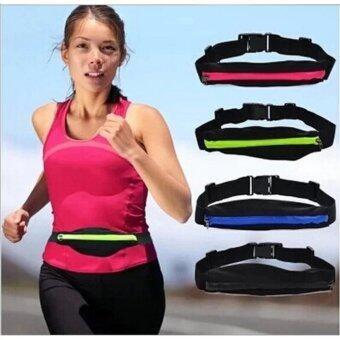 RUNNING BAG กระเป๋าคาดเอวใส่วิ่งออกกำลังกาย แบบ 2 ช่อง - สีดำ - 2