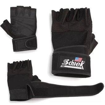 Schiek ถุงมือยกน้ำหนัก ถุงมือฟิตเนส ถุงมือหนัง Fitness Glove(Black)