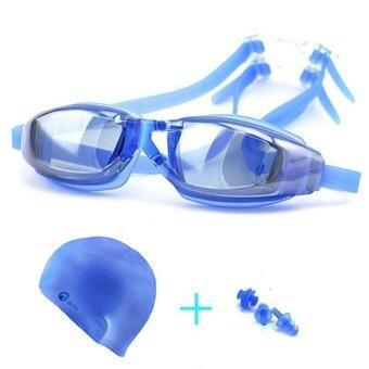 Harga Swimming goggles suit swimming cap ear nose clip set - intl