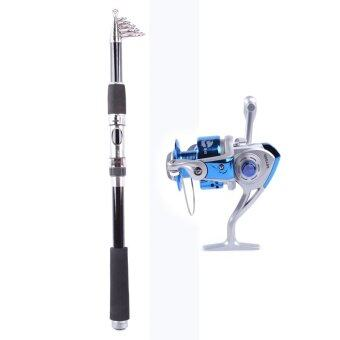 Harga Whale Portable Carbon Fishing Rod Fishing Pole 2.4M+Rocker ReelFishing Spool Vessel Fish Reel Rod Sea Spinning Wheel Line GearFB4000 (Blue)
