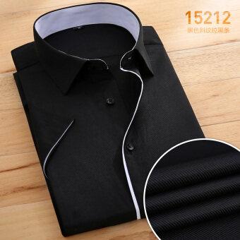สีชมพูอ่อนชายแขนสั้นเยาวชนเสื้อกระเป๋าเสื้อ (สีดำดึงแถบ 15212)