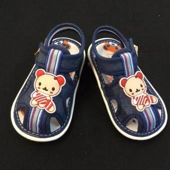 1725 (สียีนส์เข้ม) รองเท้าผ้าใบเด็กหัดเดิน เวลาเดินมีเสียง รองเท้ารัดส้นเปิดหน้า- ไม่ร้อนอับชื่้น