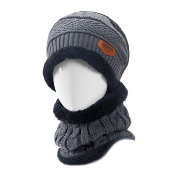 2 PCS Unisex Winter Knit Hat And Neck Warmer Scarf Set Men Women Thick Knitted Skull Cap Beanie Hat Warm Scarf Grey - intl