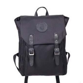 2016 Hot New Unisex Fashion Canvas Men Daily Backpacks for Laptop Computer Casual travel backpack bag Backpack male junior high school students backpack Female College Korean Style Black - intl
