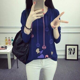 เสื้อยืดไหมพรมหญิง ฟรีไซค์ แฟชั่นเกาหลี 2017 (1822 สองคนเล่นลูก-น้ำเงิน)