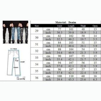 2017 Fashion Biker Jeans Male Motorcycle Slim Washed Pencil Pants-black - intl - 3