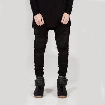 2017 Fashion Biker Jeans Male Motorcycle Slim Washed Pencil Pants-black - intl - 2