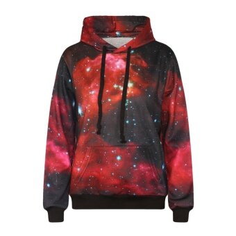 2017 Fashion Men Hoodies Sweatshirt Red Galaxy 3d Print Hoodie LongSleeve Casual Men/women Couples Tops - intl