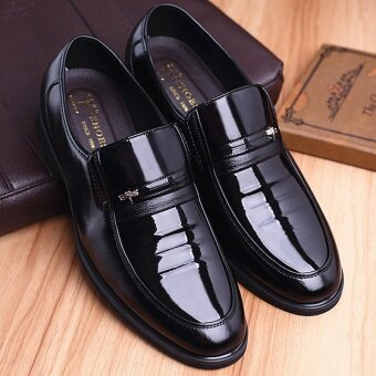 2017 Men's Fashion Genuine Leather Business Shoes Casual Solid Color Pointed Shoes - intl