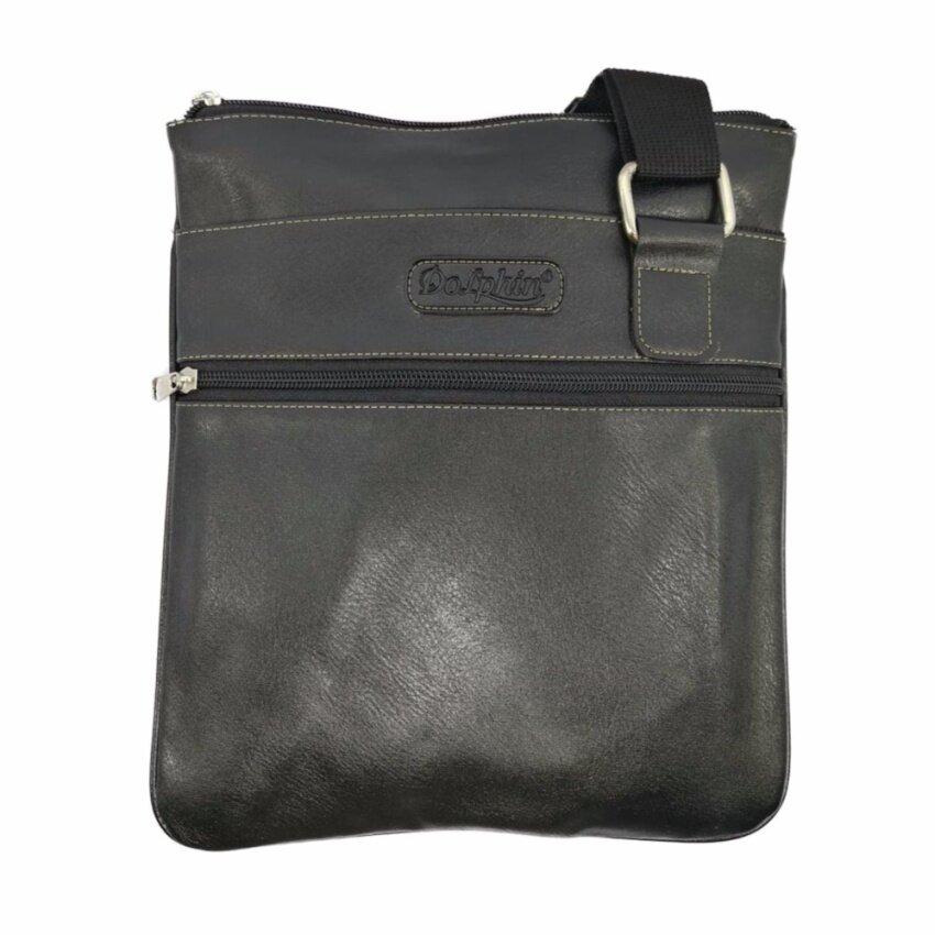 2017 แฟชั่น กระเป๋าสะพายข้าง PU  สี ดำ แบรนด์ DOLPHIN BAG รุ่น DP-01
