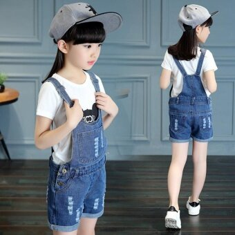 2017 Summer Big Girls Denim Strap Shorts Children's Cute CoolFashion Denim Jumpsuit - intl - 4