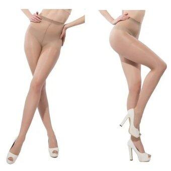 2pcs Sex Tights Reinforced Crotch Nylon Women's Sheer PantyhoseTights legging Underwears (Skin)