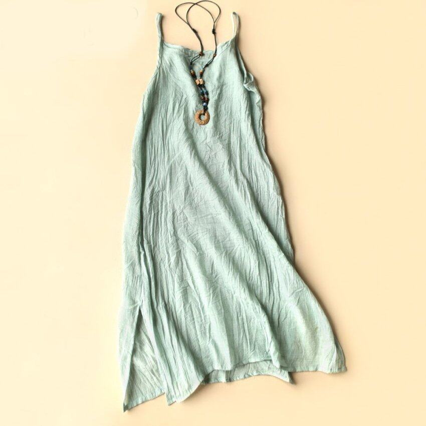 Women''s Fashion Cotton Linen Plus Size Sundress (Light green)'