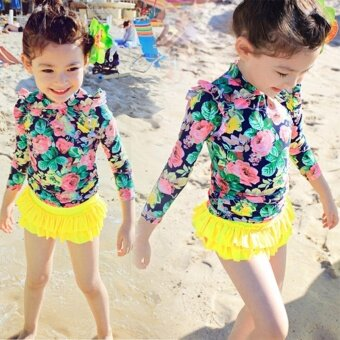 3pcs Little Girls Floral Sun Protection Swimsuit Set Swimwear for Girl 2-14 Years Old (Yellow) - intl - 3
