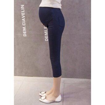 กางเกงคนท้อง 5 ส่วน เซ็ต 2 ตัว สีดำ/น้ำเงิน ผ้าไม่หนา ไม่บาง ใส่สบาย มีสายปรับเอว M-XXL # 5156 - 3