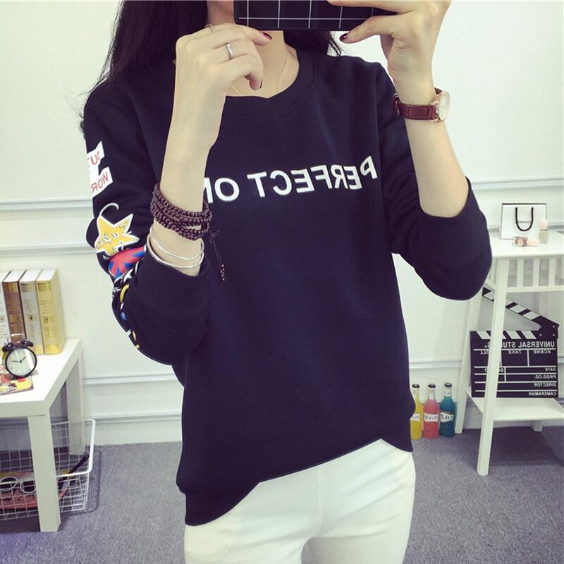 ออลจังเวอร์ชั่นเกาหลีสีสะกดแขนยาวลมเสื้อคอกลมเสื้อสวมหัวเสื้อกันหนาว (8638 สีดำ)