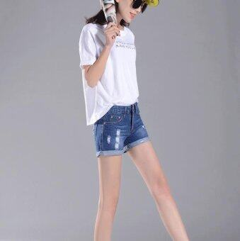 A piatter Korean women were thin denim shorts Dark blue - intl - 2