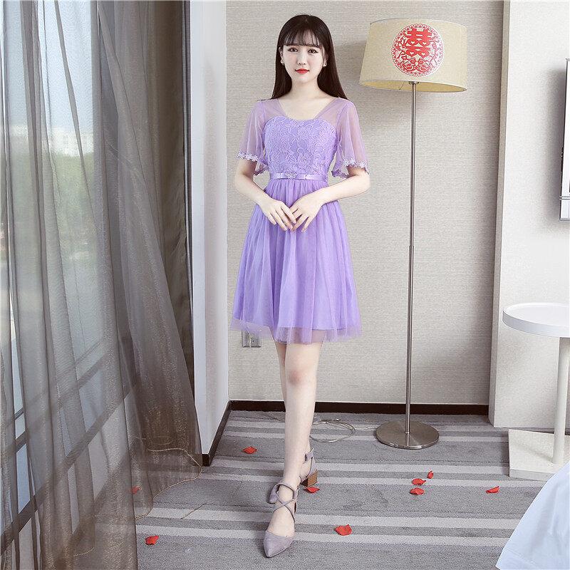 น้องสาวเกาหลีสีเทาเพศหญิงใหม่ขนาดเล็กชุดเดรสชุดเพื่อนเจ้าสาว (สีม่วง A2 แขน)