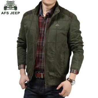 AFS JEEP men 's thin section of business casual fashion youth jacket(Green) - intl