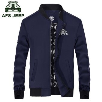 AFS JEEP men fashionable leisure handsome large thin collarjacket(Blue) - intl