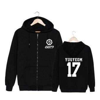 ALIPOP KPOP Korean Fashion GOT7 Meeting Album Concert Cotton ZipperAutumn Hoodies Clothes Zip-up Sweatshirts PT435(YUGYEOM Black) -intl