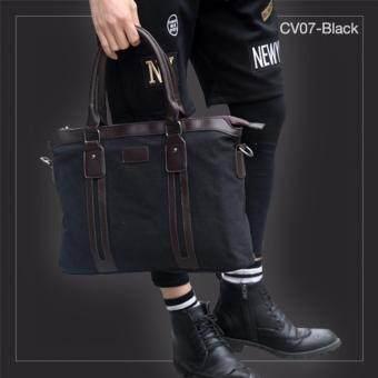 CV07-Black กระเป๋าถือผู้ชาย + สะพายข้าง ผ้าแคนวาส สีดำ กระเป๋าผู้ชาย