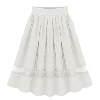 Harga Amart Elegant Organza Silk Pleated Skirts(White)