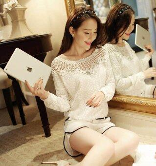 Amart Fashion Women Shirt Long Sleeve Lace Blouses Casual Round Neck Hollow Out Tops - intl