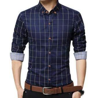 Amart Men's Long Sleeve Shirt Plaid Shirts Cotton Top Clothing(DarkBlue) - intl