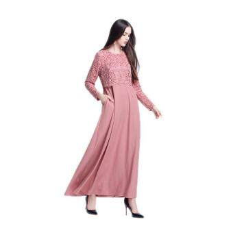 Amart Muslim Women Long Sleeve Maxi Dress Clothing Robe MoroccanLace Dresses(Pink) - intl