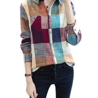 Amart New Fashion Women Plaid Blouse Casual Long Sleeve CottonLinen Slim Fit Tops (Red) - intl
