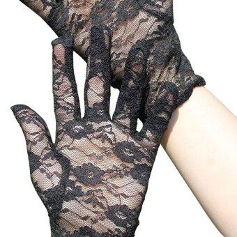Amart Sun Protection Accessories Lace Gloves Skid ResistancePattern Lace Gloves(Black)