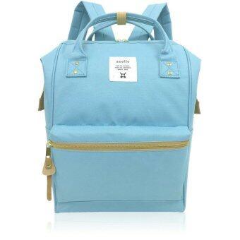 Anello Authentic Anello Japan Imported Canvas ผ้าใบ Unisex Backpack- Light Blue ฟ้าอ่อน