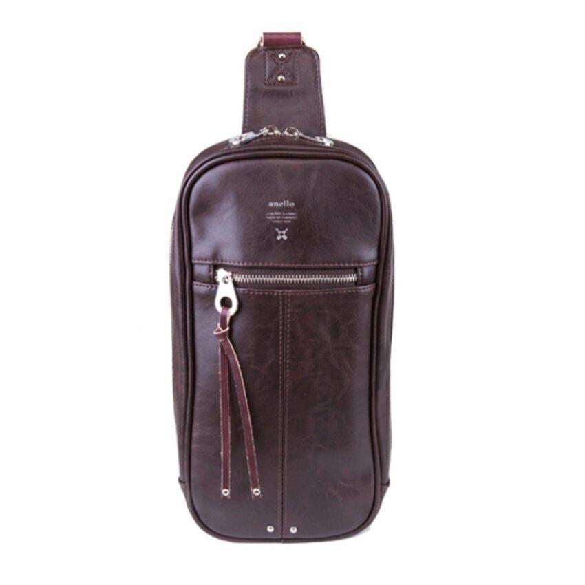 Anello กระเป๋าคาดอกหนัง premium AU-B1515(สีD.Brown)