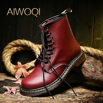 Harga Ankle Boots AIWOQI Men Leather High-top Martin Boots WaterproofAnkle Boots - intl