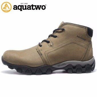 ประเทศไทย Aquatwo รุ่น S1022 รองเท้าหนังแท้ กันน้ำ100% สำหรับขาลุย เดินป่า ปีนเขา ลุยหิมะ ผจญภัย พื้นยางกันลื่น ดีไซน์สวยหรู (สีเขียวทหาร)
