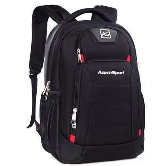 "Aspensport กระเป๋าเป้สะพายหลัง รุ่น AS-B22 วัสดุกันซึมน้ำ - สีดำ"""