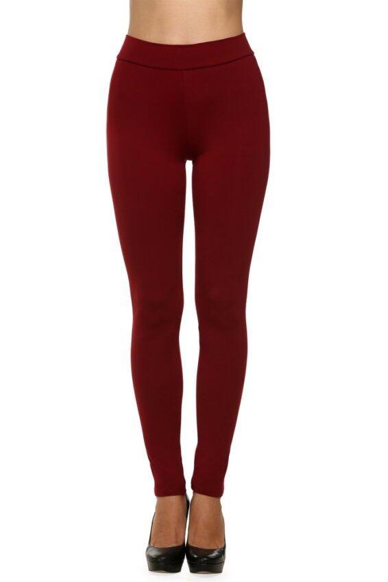 ASTAR Women Stretch Casual Skinny Leggings (Dark Red)