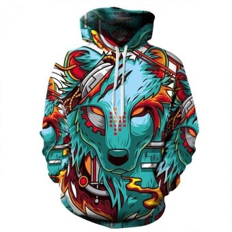 Autumn Winter New Fashion Thin Cap Sweatshirts 3d Print WolfMen/women Hooded Hoodies Casual Hoody Tops - intl