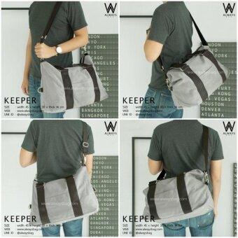 กระเป๋าสะพายข้างผู้ชาย กระเป๋าแคนวาส กระเป๋าเดินทาง รุ่น AWB-KEEPER สีเทา