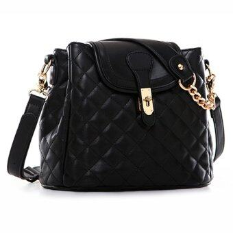 AXIXI กระเป๋าสะพายแฟชั่น Quilted And Chaned 10626Black