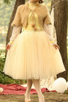 Harga AZONE Princess Fairy 5-layer Tulle Bouffant Skirt (Apricot) - intl