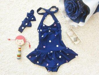 Baby Girl Cute One Piece Skirt Swimsuit Dance Clothes - Blue