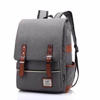 กระเป๋าสะพายหลัง สไตล์เกาหลี กระเป๋าเป้เดินทาง กระเป๋าโน๊ตบุ๊ค กระเป๋าเป้เท่ๆ กระเป๋านักเรียน Backpackรุ่น BP-01 - สีเทา