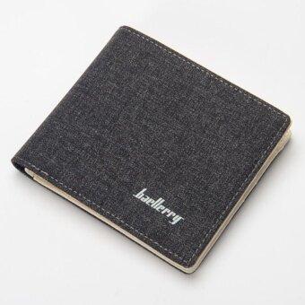Baellerry Canvas Short Paragraph Mini Wallet Male Wallet -Brown -intl - 3