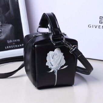 กระเป๋าถือพร้อมสะพาย พิมพ์ลายกุหลาบ รุ่น098 (สีดำ)