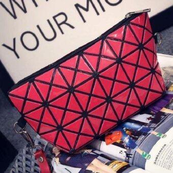 กระเป๋าสะพายข้าง กระเป๋าถือ กระเป๋าลายพีรมิด รุ่น 006(สีแดง)