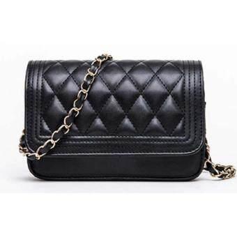 Bag Fashion กระเป๋าแฟชั่น กระเป๋าสะพายข้าง สายถักสีทอง รุ่น301 (สีดำ)